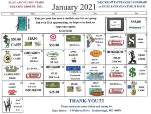 2021 Sweepstakes Calendar